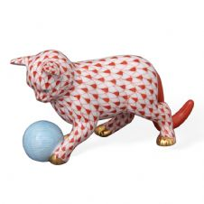 Herend Porcelain Fishnet Figurine of a Kitten with Yarn